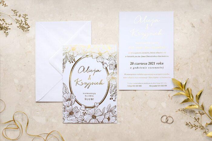 zaproszenie-slubne-kwiecista-ramka-barwinek-papier-matowy-350g-foliowanie-zlote-koperta-bez-koperty