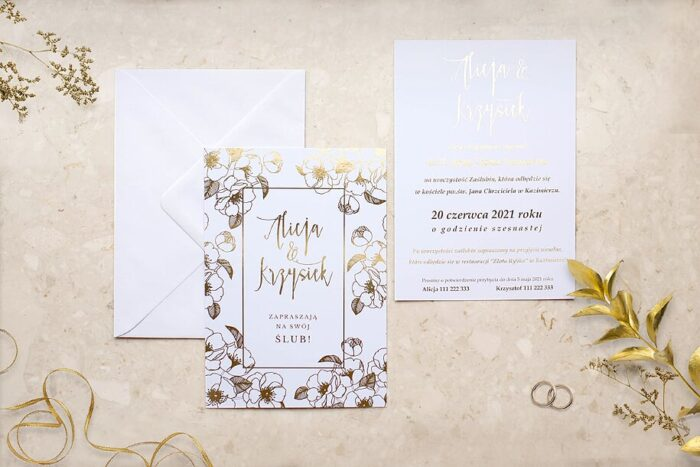 zaproszenie-slubne-kwiecista-ramka-ciemiernik-papier-matowy-350g-foliowanie-zlote-koperta-bez-koperty