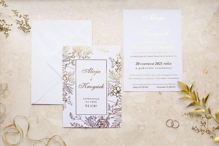 zaproszenie-slubne-kwiecista-ramka-drobne-kwiaty-papier-matowy-350g-foliowanie-zlote-koperta-bez-koperty