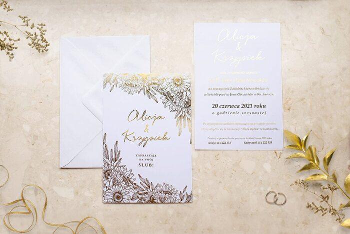 zaproszenie-slubne-kwiecista-ramka-gerbera-papier-matowy-350g-foliowanie-zlote-koperta-bez-koperty