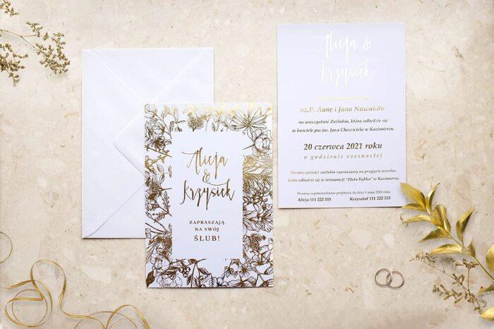 zaproszenie-slubne-kwiecista-ramka-kwiaty-bukietowe-papier-matowy-350g-foliowanie-zlote-koperta-bez-koperty
