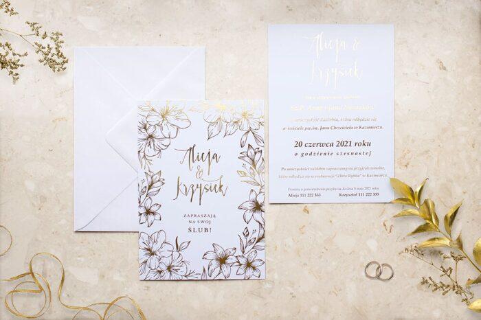 zaproszenie-slubne-kwiecista-ramka-lilie-papier-matowy-350g-foliowanie-zlote-koperta-bez-koperty