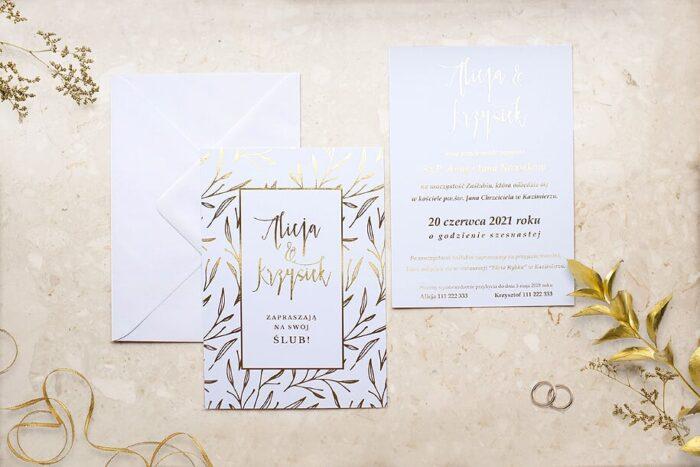zaproszenie-slubne-kwiecista-ramka-liscie-lawendy-papier-matowy-350g-foliowanie-zlote-koperta-bez-koperty