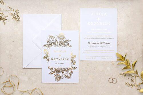 zaproszenie ślubne Róża bukietowa