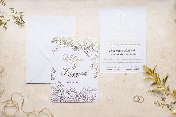 zaproszenie-slubne-kwiecista-ramka-roze-papier-matowy-350g-foliowanie-zlote-koperta-bez-koperty