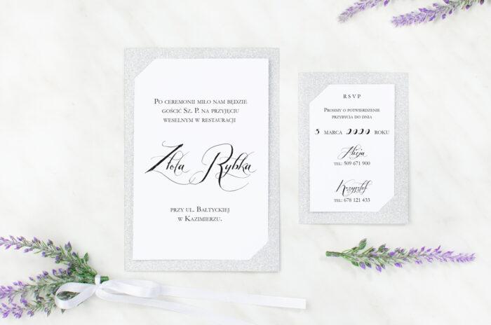 dodatkowa karteczka brokatowa do zaproszenia ślubnego