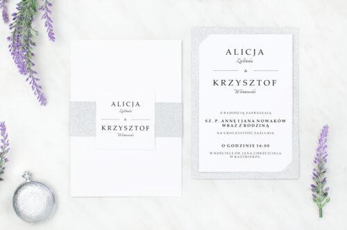 zaproszenie ślubne brokatowe