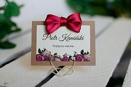 Winietka ślubna do zaproszenia Boho z kokardką - Bordowe róże