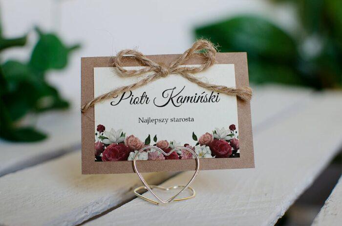 Winietka ślubna do zaproszenia Boho z kokardką - Czerwono biały bukiet