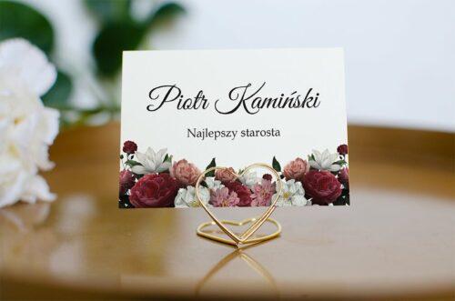 Winietka ślubna do zaproszenia Eleganckie - Czerwono biały bukiet