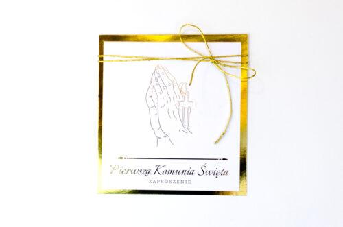 zaproszenie na pierwszą komunie świętą dłonie z różańcem