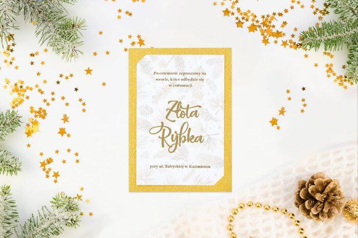 dodatkowa karteczka do zaproszeń ślubnych zimowych