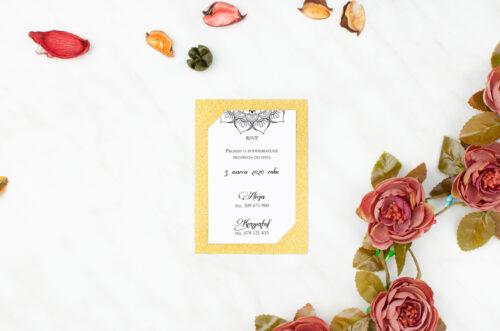 karteczka ślubna rsvp ornamentowa rozeta