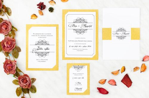 brokatowa karteczka ślubna