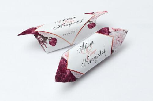 Krówki ślubne 1 kg - Geometryczne Kwiaty - Amarantowy bukiet