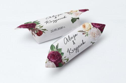 Krówki ślubne 1 kg - Eleganckie kwiaty - Bordowe róże