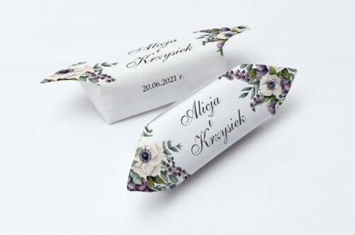 Krówki ślubne Kwiatowe Gałązki - Biało-Fioletowe Anemony