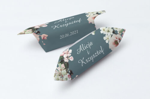 Krówki ślubne 1 kg - Duże Inicjały - Kwiaty Wiśni