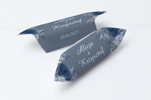 Krówki ślubne 1 kg - Duże Inicjały - Niebieskie Róże