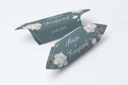 Krówki ślubne 1 kg - Duże Inicjały - Białe Róże