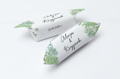 Krówki ślubne 1 kg - Eleganckie kwiaty - Sukulenty