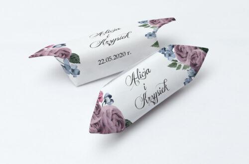Krówki ślubne 1 kg do zaproszenia Botaniczne – Fioletowe róże