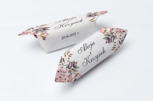 Krówki ślubne Kwiatowe Gałązki - Różowo-Bordowe Róże