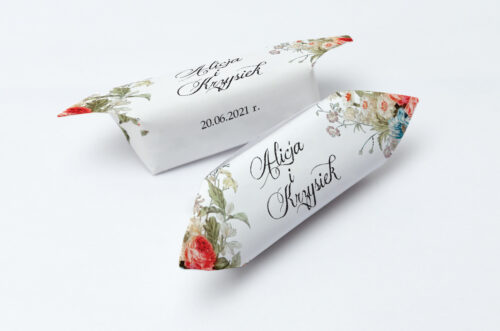 Krówki ślubne Kwiatowe Gałązki - Białe Kalie