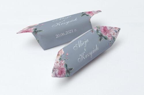 Krówki ślubne 1 kg - Kwiatowe Nawy - Różowe różyczki