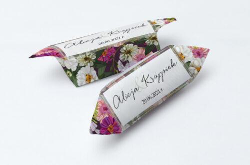 Krówki ślubne 1 kg do zaproszenia Tło z kwiatów – Kolorowe astry