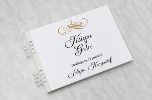 Księga gości ślubnych - Eleganckie ślubne 3D - Złote