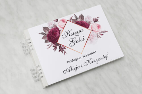 Księga gości ślubnych - Geometryczne Kwiaty - Amarantowy bukiet