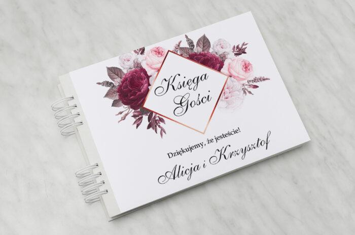 ksiega-gosci-slubnych-geometryczne-kwiaty-amarantowy-bukiet-papier-satynowany-dodatki-ksiega-gosci