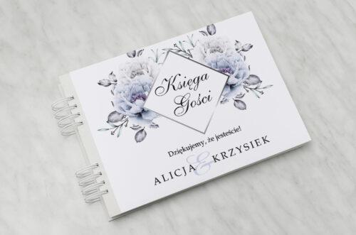 Księga gości ślubnych - Geometryczne Kwiaty - Błękitne kwiaty