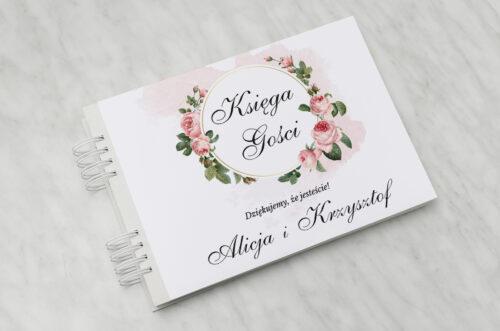 Księga gości ślubnych - Geometryczne ze zdjęciem - Różowe Różyczki