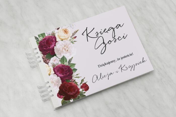 ksiega-gosci-slubnych-eleganckie-kwiaty-bordowe-roze-papier-matowy-dodatki-ksiega-gosci