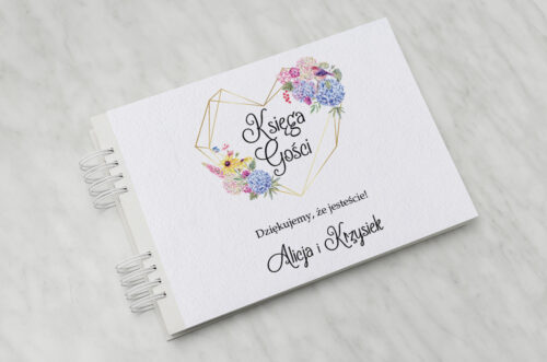 Księga gości do zaproszenia ze zdjęciem i sznurkiem – Rustykalny bukiet w sercu