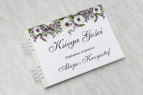 Księga gości ślubnych do zaproszenia: Kwiatowe Gałązki - Biało-Fioletowe Anemony