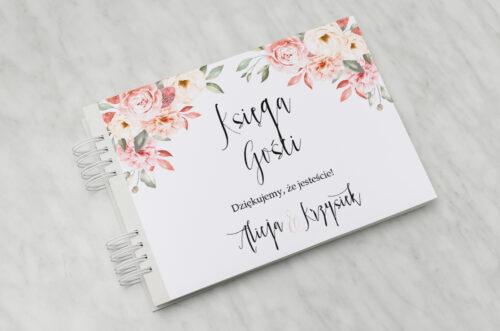 Księga gości ślubnych - Akwarelowe Bukiety – Ogrodowe róże na jasnym tle