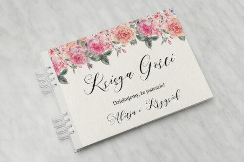 Księga gości do zaproszenia Angielskie Róże – Różowe i Herbaciane