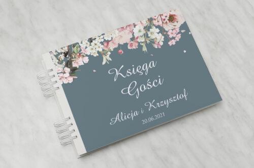 Księga gości ślubnych - Duże Inicjały - Kwiaty Wiśni