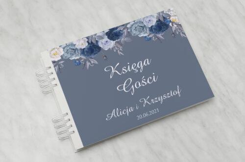 Księga gości ślubnych - Duże Inicjały - Niebieskie Róże