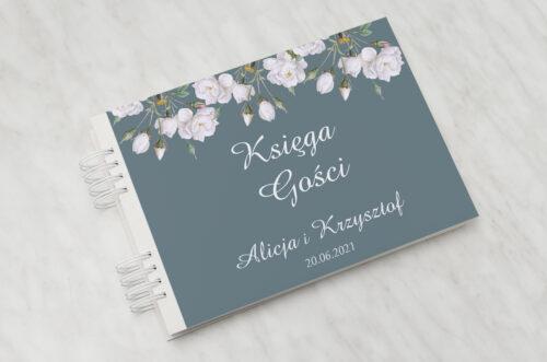 Księga gości ślubnych - Duże Inicjały - Białe Róże