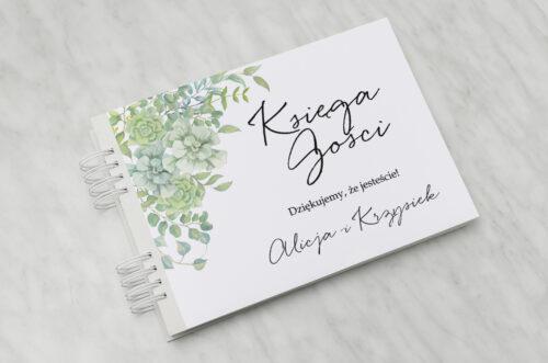 Księga gości ślubnych - Eleganckie kwiaty - Sukulenty