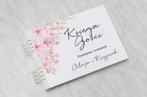 Księga gości ślubnych - Eleganckie kwiaty - Kwiaty wiśni
