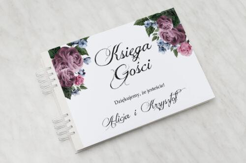Księga gości ślubnych do zaproszenia Botaniczne – Fioletowe róże