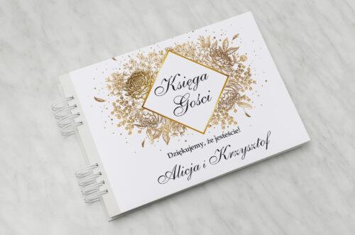 Księga gości ślubnych - Geometryczne Kwiaty - Złoty bukiet