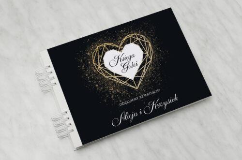 Księga gości ślubnych - Geometryczne Serce - Złoto