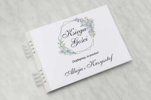 Księga gości ślubnych - Geometryczne ze zdjęciem - Zimowe Listki