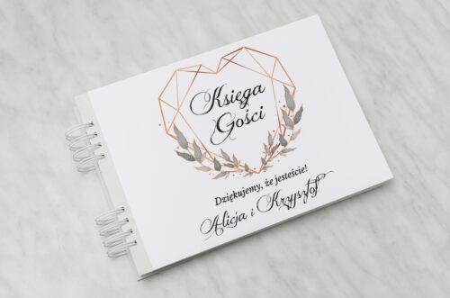 Księga gości ślubnych - Geometryczne ze zdjęciem - Serce